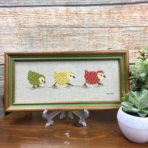 Vintage | 1984 Cross Stitch Embroidered Bird Art